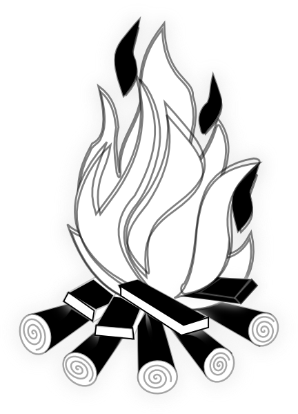 Camp Fire Black And White clip art - vector clip art online ...