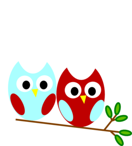 Red And Teal Owl Clip Art