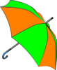 Umbrella Green And Orange Clip Art
