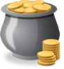 Gold Coins In A Pot Clip Art