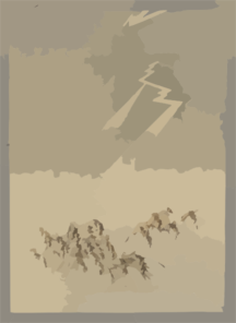Thunder And Lightning Over Rice Grain. Clip Art