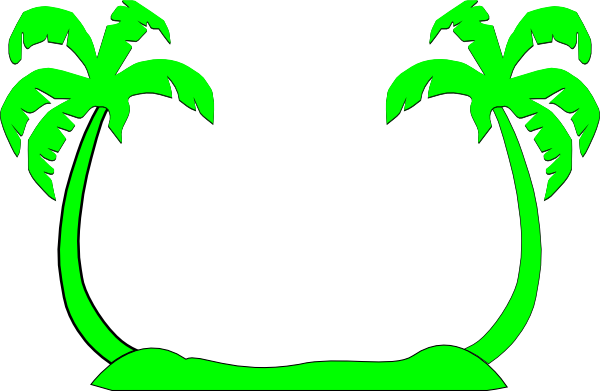 double palm trees green clip art at clker com