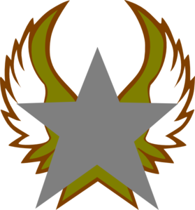 Silver Star With Gold Wings Clip Art