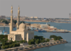 The Nuclear Powered Aircraft Carrier Uss Enterprise (cvn 65) Passes An Islamic Mosque On The Western Bank Of The Suez Canal While Transiting To The Red Sea. Clip Art