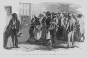 Glimpses At The Freedmen S Bureau. Issuing Rations To The Old And Sick  / From A Sketch By Our Special Artist, Jas. E. Taylor. Clip Art