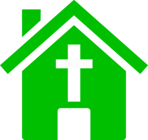 Green Church House Clip Art