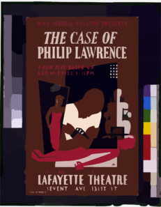 Wpa Federal Theatre Presents  The Case Of Philip Lawrence  A New Play Based On Geo. Mcentee S  11 Pm  : A Negro Theatre Production / Rh [monogram] Clip Art