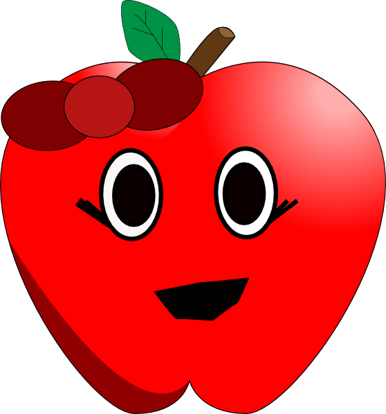 free smiling apple clipart - photo #2