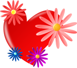 Red Heart With Daisies Clip Art