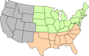 Three-region U.s. Map Pastel Clip Art