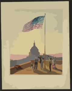 The Flag That Has Waved One Hundred Years--a Scene On The Morning Of The Fourth Day Of July 1876  / Fabronius ; E.p. & L. Restein S Oilchromo, Phila. ; National Chromo Co. Pub., Phila. Clip Art