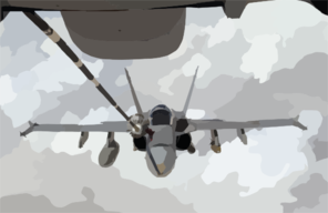 A U.s. Navy F/a-18 Hornet Strike Fighter Flying Missions In Operation Iraqi Freedom Receives Fuel From A Kc-10 Extender. Clip Art
