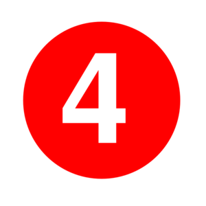 White Numeral 4 Inside Red Circle Clip Art