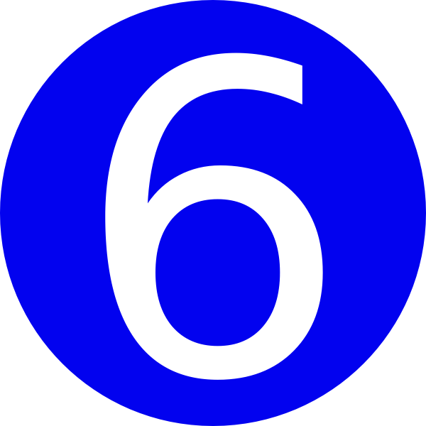 Blue, Rounded,with Number 6 Clip Art at Clker.com - vector ...