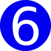 Blue, Rounded,with Number 6 Clip Art