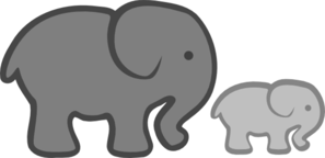 Grey Elephant Mom & Baby Clip Art
