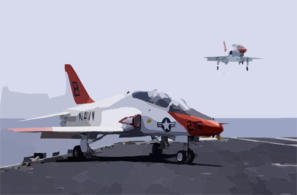 A T-45c Goshawk Assigned To Fixed Wing Training Squadron Seven (vt-7,) Is Recovered On The Flight Deck Of Uss Harry S. Truman (cvn 75). Clip Art