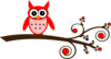 Red Owl On Branch Clip Art