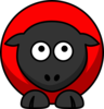 Sheep - Red On Red On Black Eyes To Up Over Clip Art