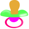 Green And Pink Pacifier Clip Art