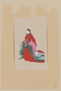 Japanese Woman, Full-length, Standing, Facing Left, Wearing Robes Of A Noblewoman, Such As Empress Or Princess; Also Shows Custom Of Artificial Eyebrows Clip Art