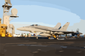 F/a-18 Hornet Makes Arrested Landing Aboard Uss Kitty Hawk Cv 63 Clip Art