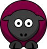 Sheep Looking Straight Dark Maroon  Clip Art