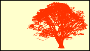 Tree, Orange, Silhouette, Yellow Background Clip Art