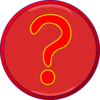 Red Question Mark Inside Darker Red Circle, Blue Border Clip Art