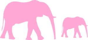 Mommy& Baby Elephant Clip Art