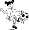Girl Playing Football Outline Clip Art