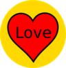 Red Heart In Yellow Circle Clip Art