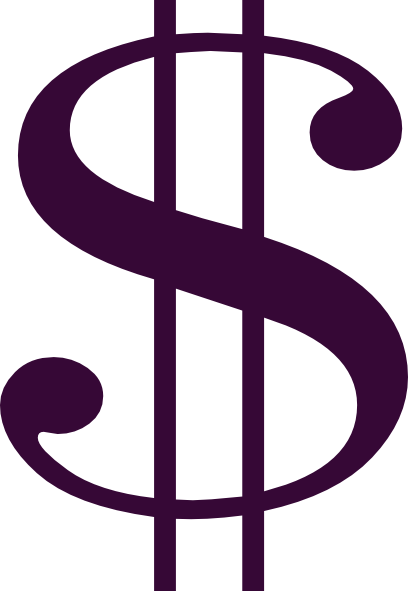 Dollar sign purple. Wlt signs clip art
