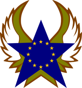 Blue Star With Gold Stars Clip Art