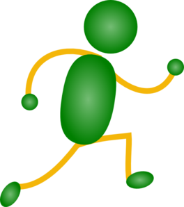 Green&yellow Jogging Man Clip Art