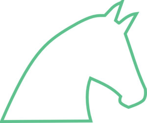 Horse Outline No Fill - Bright Green Clip Art