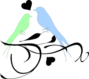 Birds On A Branch Green And Blue Clip Art