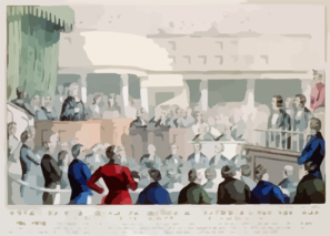 Trial Of The Irish Patriots At Clonmel, Oct. 22nd. 1848 Thos. F. Meagher, Terence B. Mc.manus, Patrick O Donohue, Receiving Their Sentence / Lith. & Pub. By N. Currier. Clip Art