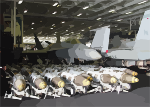 Dozens Of Bombs Line The Hangar Bay Aboard Uss Constellation (cv 64) Ready For Use In Support Of Operation Iraqi Freedom Clip Art