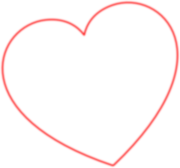 heart clip art outline. Red Outline Heart 7degree Left