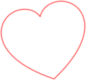 Red Outline Heart 7degree Left Clip Art