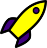 Purple And Yellow Rocket Clip Art
