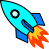 Light Blue Rocket Clip Art