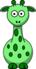 Green Giraffe With 12 Dots Clip Art