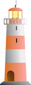 Orange & White Lighthouse Clip Art