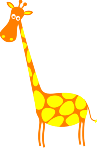 Giraffe Orange With Yellow Dots Clip Art