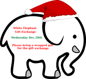 White Elephant With Red Bow Clip Art