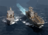 Uss Tarawa (lha 1) Receives Fuel During An Underway Replenishment (unrep) With Military Sealift Command Oiler Usns Yukon (t-ao 202). Clip Art