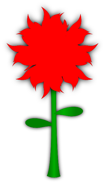 Red Flower With Stem Clip Art at Clker.com - vector clip ...