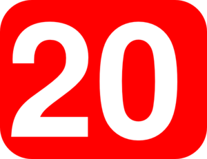 Number 20 Red Background Clip Art